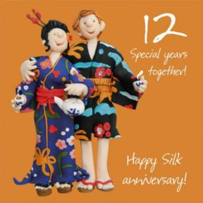 Silk 12th Wedding Anniversary Card